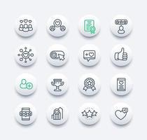 curtidas, seguidores, classificação e conjunto de ícones de linha de feedback vetor