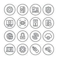 ícones de linha de segurança e proteção definidos em branco vetor