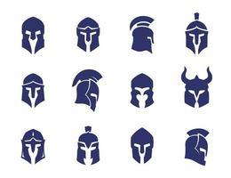 conjunto de capacetes, espartano, grego e romano, capacete de gladiador vetor