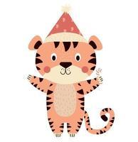 tigre fofo. personagem engraçado de ano novo. mascote de 2022 vetor