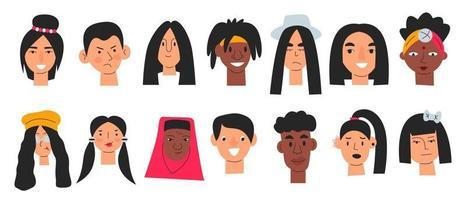 coleção de perfis de usuários com rostos masculinos e femininos vetor