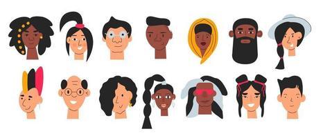 vários avatares fofos de diversas pessoas conjunto isolado vetor