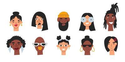 conjunto de avatar multicultural de pessoas diversificadas isolado vetor