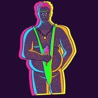ilustração de néon de um homem gordo comendo um sorvete derretendo. vetor