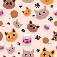 padrão sem emenda felino com diferentes cabeças de gato e expressões. vetor