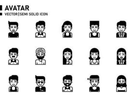 ícone semi-sólido de avatar vetor