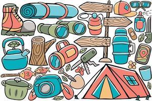 vetor de doodle de acampamento em estilo cartoon