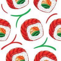 padrão sem emenda de sushi em estilo design plano vetor