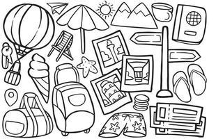 objeto doodle de viagem em estilo cartoon vetor