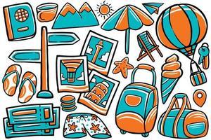 vetor de doodle de viagem em estilo cartoon
