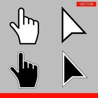 pixel de seta preta e branca e cursores de mão do mouse de pixel vetor