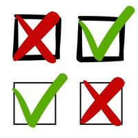 marcas de verificação verdes e cruzes vermelhas nas caixas de seleção vetor