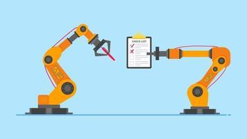 braços de robô seguram caneta e prancheta com texto vetor
