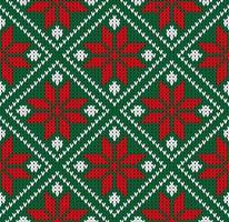 camisola de inverno sem costura noruega verde vermelho branco padrão vetor