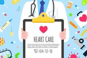cartaz de design de estilo plano de conceito do dia mundial do coração vetor