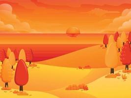 vista do outono no fundo da ilustração da praia vetor