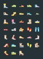 ícones de calçado de sapatos vetor