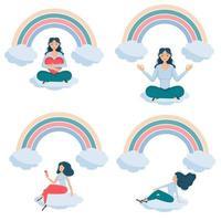 meninas sentadas conjunto de sorriso arco-íris vetor