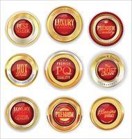 Emblemas e etiquetas de ouro premium de luxo vetor