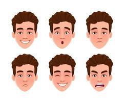expressões faciais de homem bonito vetor