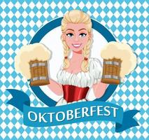 garota alemã em traje tradicional na oktoberfest vetor