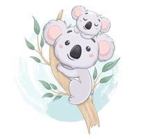 Coala engraçada com seu bebê em uma árvore de eucalipto vetor