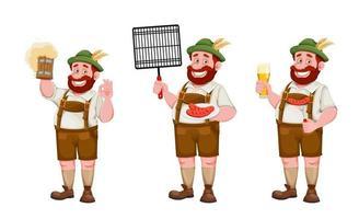 homem com roupas da Baviera. festival de cerveja oktoberfest vetor