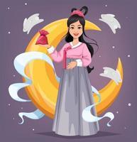 bela mulher coreana. Chuseok Hangawi vetor