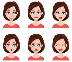 expressões faciais de uma mulher bonita. vetor