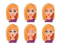 expressões faciais de mulher com cabelo loiro vetor