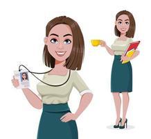 jovem mulher de negócios de sucesso, conjunto de duas poses vetor