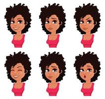 expressões faciais de mulher afro-americana vetor