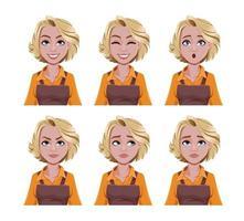 expressões faciais de mulher barista vetor