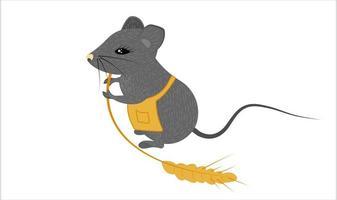 um rato estilizado e fofo com uma espiga e um avental de chef vetor