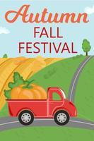 banner festival outono outono. caminhão vermelho com abóbora dirigindo na estrada vetor