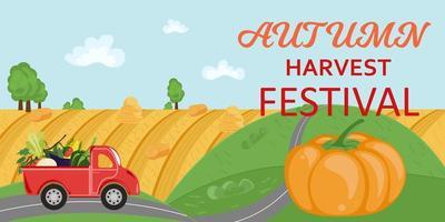 panorama rural com caminhão vermelho e título festival da colheita de outono vetor
