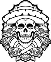 silhueta de caveira mexicana dia de los muertos vetor