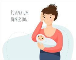 depressão pós-parto. uma mulher está chorando e segurando um bebê chorando. vetor