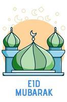 mesquita cúpula verde e azul vetor