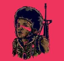 exército de crianças carrega arma vetor