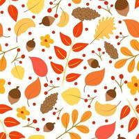 padrão sem emenda com folhas de outono, cones de pinho e vetor de bolotas