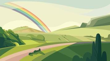 paisagem com colinas e arco-íris. vetor