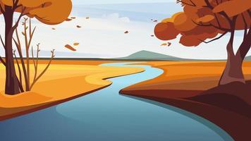 paisagem do outono do rio. belas paisagens naturais. vetor