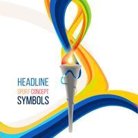 Tocha olímpica de ícone. Tocha de fogo, ícone do campeonato, um símbolo da vitória