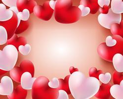 Fundo de dia dos namorados com balões vermelhos e brancos conceito de corações 3d