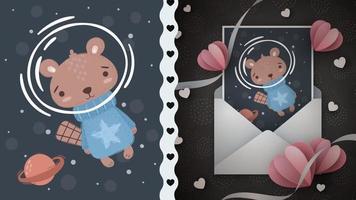 urso fofo personagem de desenho animado no espaço vetor