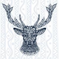 Figura do padrão de veado, ornamento, folhas e flores vetor
