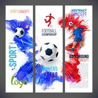 Campeonato de futebol. Banners de esportes com jogador de futebol