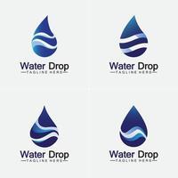 modelo de design de ilustração vetorial de logotipo de gota de água azul abstrato. vetor