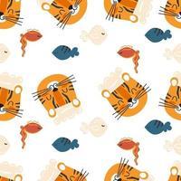 padrão sem emenda de cozinha com chef tigre e peixe bonito dos desenhos animados vetor